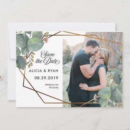Single photo eucalyptus geo frame save the date