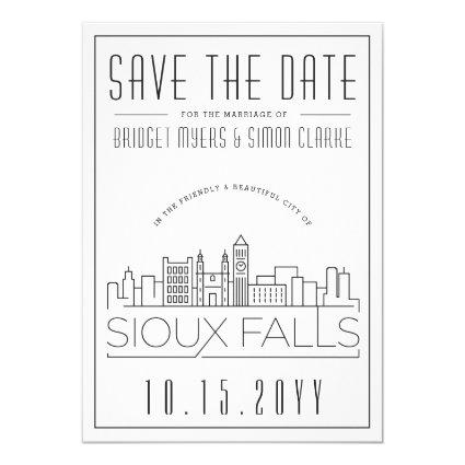 Sioux Falls Wedding Stylized Skyline Save the Date Invitation