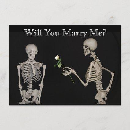 Skeleton Gives a Rose Save the Date