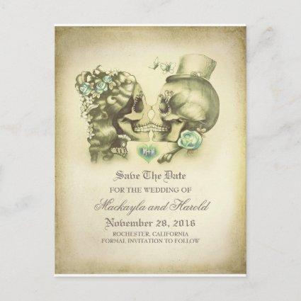 Skull Couple Day of the Dead Save the Date Announcement