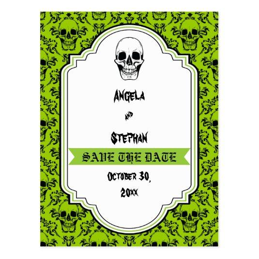 Skulls Damask Green Black Halloween Save The Date Cards Save The