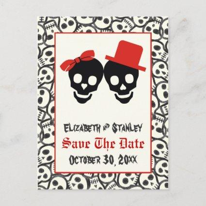 Skulls Halloween red black wedding Save the Date Announcement