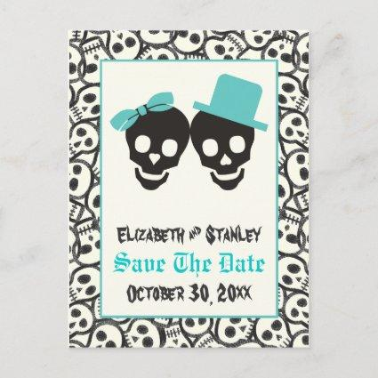 Skulls Halloween Turquoise wedding Save the Date Announcement