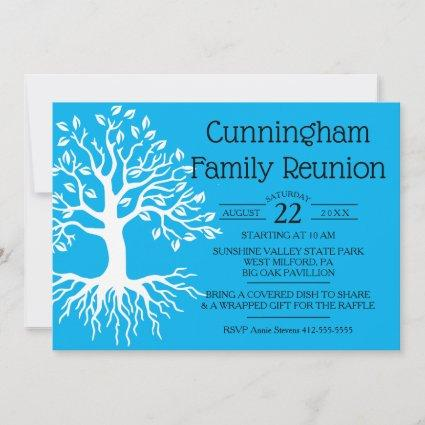 Sky Blue Family Reunion Family Tree Silhouette Save The Date