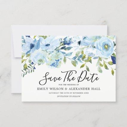 Sky Blue Watercolor Flowers Modern Wedding Save The Date