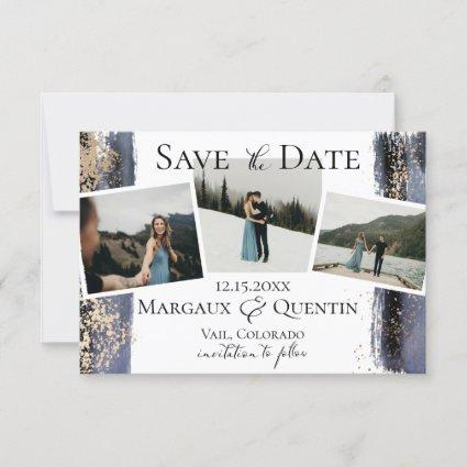 Slate Blue Golden Brush Photo Save The Date Announcement