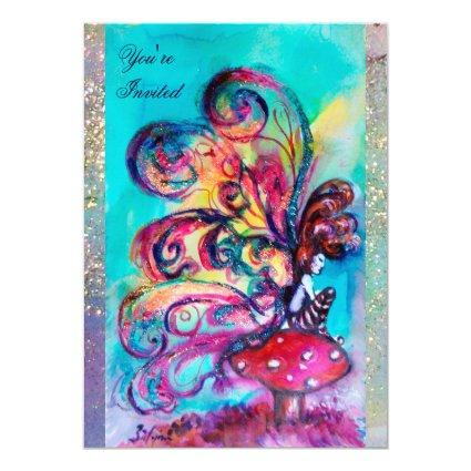 SMALL ELF OF MUSHROOMS ,pink yellow blue sparkle Invitation
