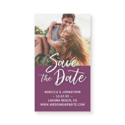 Small Purple Save the Date Invitations Magnet