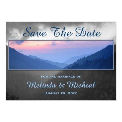 Smokies Mountain Country Sunset Save The Date Magnetic Invitation