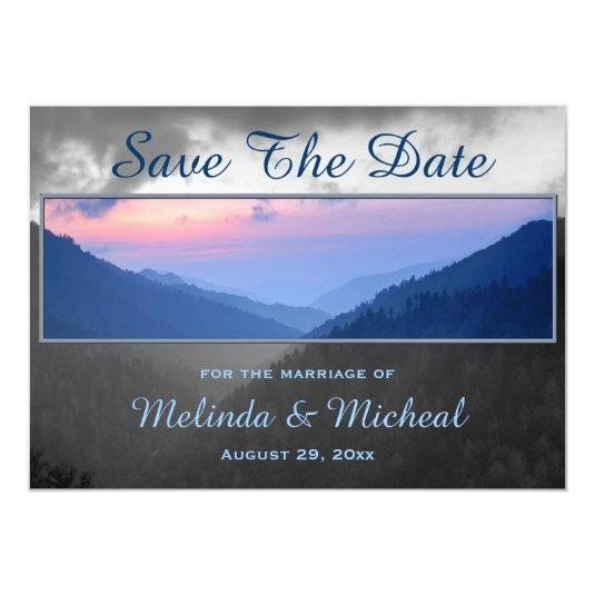 Smokies Mountain Country Sunset Save The Date Magnetic Invitations