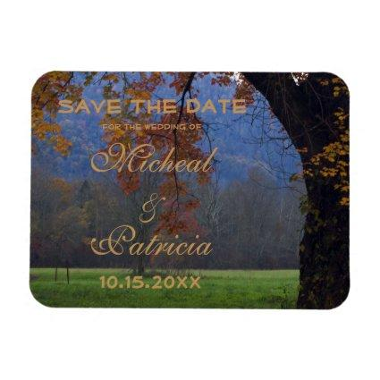 Smoky Mountain Fall Country Wedding Save The Date Magnet