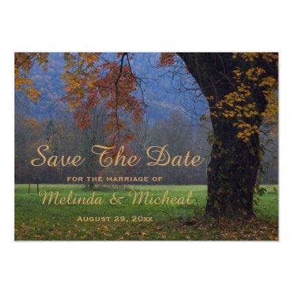 Smoky Mountain Fall Country Wedding Save The Date Magnetic Invitation