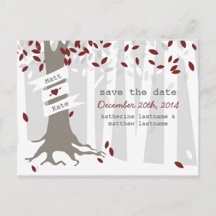 Snow Forest Winter Red Wedding Save Date