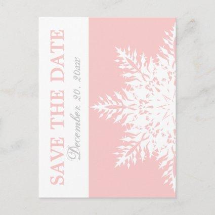 Snowflake pink winter wedding Save the Date Announcement
