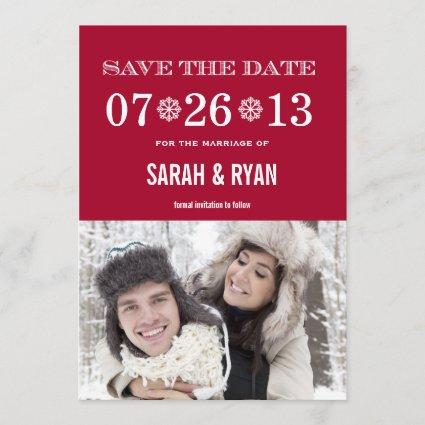 Snowflake Red Save the Date Photo Invitations