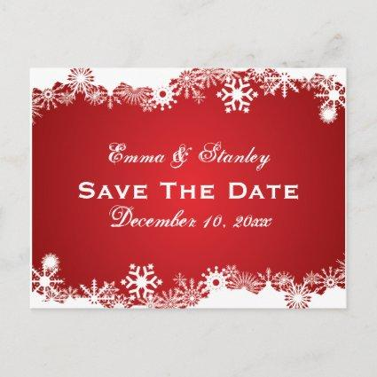 Snowflake red white winter wedding Save the Date Announcement