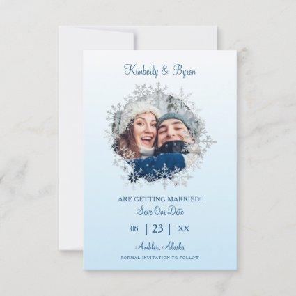 Snowflake Winter Themed for Wedding Save The Date