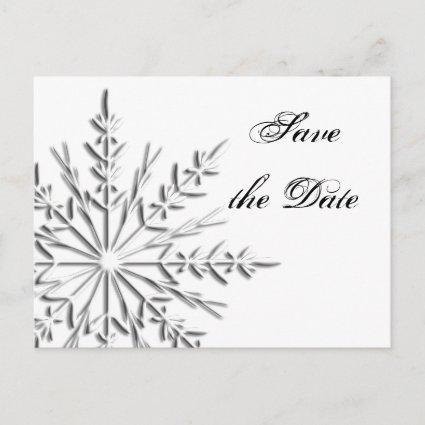 Snowflake Winter Wedding Save the Date Announcement