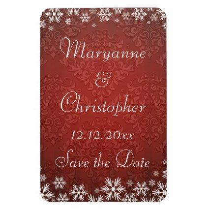Snowflakes and Red Damask Save the Date Magnet