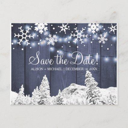 Snowflakes rustic hanging lights wedding save date announcement