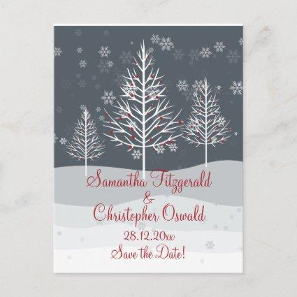 Snowy Night and Winter Trees Save the Date Announcement