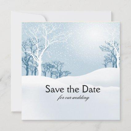 Snowy Winter Save the Date ice blue