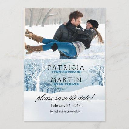 Snowy Winter Save the Date Photo - ice blue