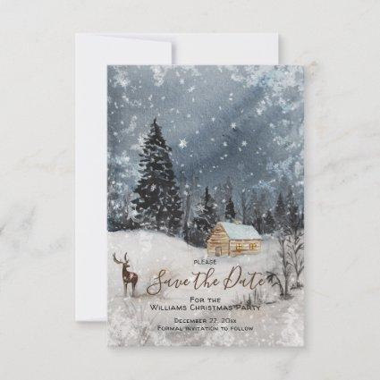 Snowy Winter Woodland Christmas Save the Date