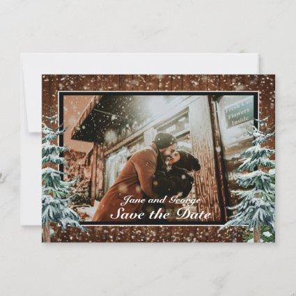 Snowy Wood & Forest Country Pine Wedding Photo Save The Date