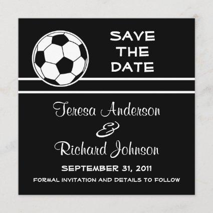 Soccer Ball Save The Date Wedding Announcement