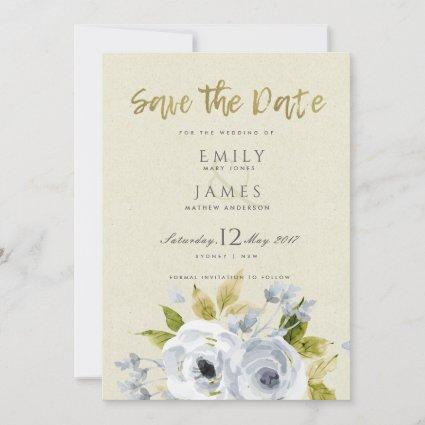 SOFT AQUA BLUE WATERCOLOUR FLORAL SAVE THE DATE