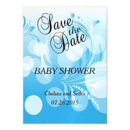 Soft Baby Blue Bokeh Florid | Baby Boy Shower Magnetic Invitation