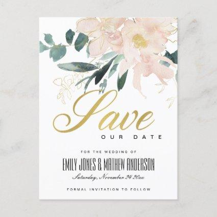 SOFT BLUSH FLORAL BUNCH WATERCOLOR SAVE THE DATE ANNOUNCEMENT