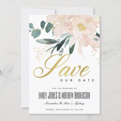 SOFT BLUSH GOLD FLORAL BUNCH WATERCOLOR WASH SAVE THE DATE