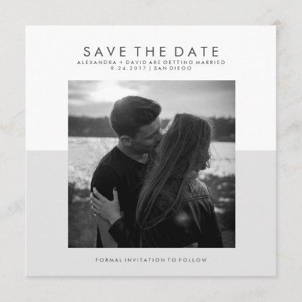 Soft Gray and White Minimal Save the Date | Photo