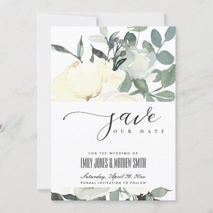 SOFT IVORY WHITE AQUA FLORAL WATERCOLOR BUNCH SAVE THE DATE