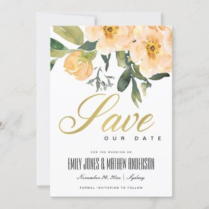 SOFT PEACH PEONY FLORAL BUNCH WATERCOLOR WASH SAVE THE DATE