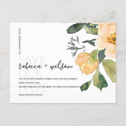 SOFT PEACH PEONY FLORAL WATERCOLOR SAVE THE DATE ANNOUNCEMENT