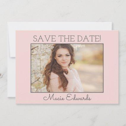 Soft Pink Graduation Save Date Photo Save The Date