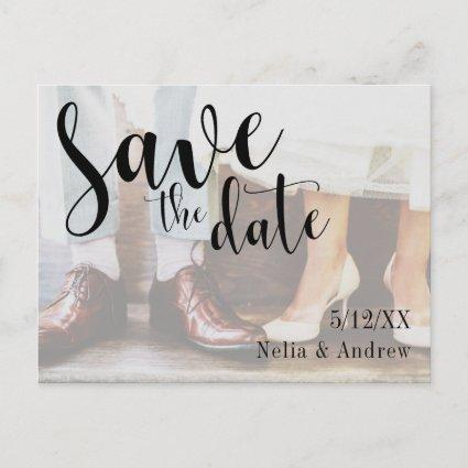 Soft Romantic Photo Typography 30 Save the Date 1b Announcement