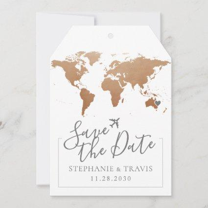Soft Rust World Map Luggage Tag Save the Date