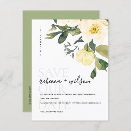 SOFT WHITE PEONY FLORAL WATERCOLOR SAVE THE DATE ANNOUNCEMENT