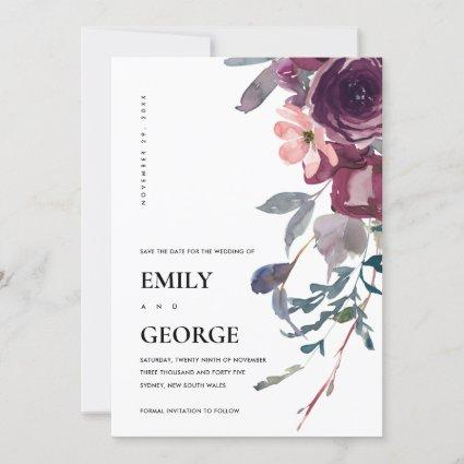 SOFT WILD PURPLE LILAC FLORAL SAVE THE DATE CARD