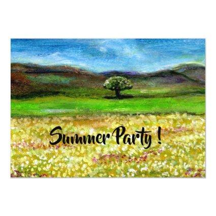 SOLITARY TREE IN YELLOW FLOWER FIELD SUMMER PARTY INVITATION
