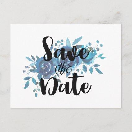 Something Blue Watercolor Wedding Save the Date Announcement