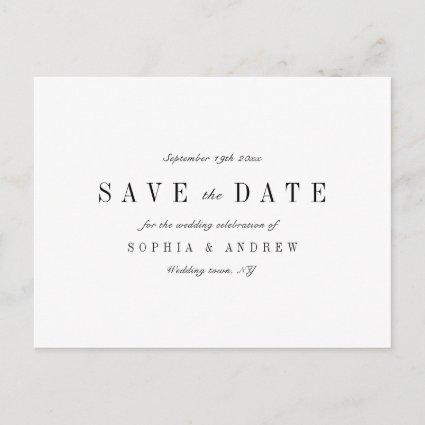 Sophisticated minimalist wedding save the date announcement