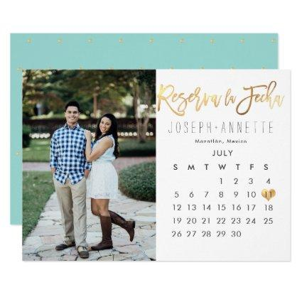 Spanish Photo Save the Date Calendar faux gold Invitation