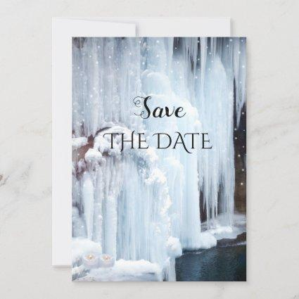 Sparkling Ice Winter Wedding Save the Date Card