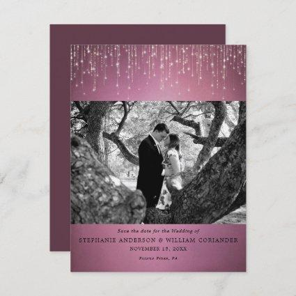 Sparkling Lights Cranberry Photo Save the Date Invitation