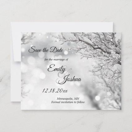 Sparkling Snow and Ice Winter Wedding Save The Date